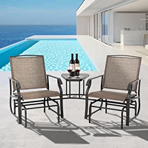 Patio Double Glider Chairs with Center Table, Outdoor Seating Glider Bench, Rocking Lounge Chair for Porch, Deck, Balcony, Garden by YOUDENOVA