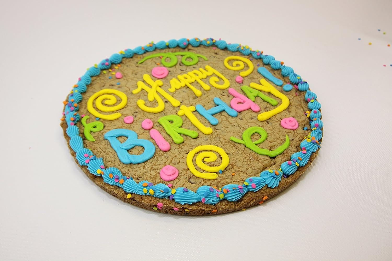 Amazon.com : Triolou0027s Bakery U0027Happy Birthdayu0027 Chocolate Chip Cookie Cake  12