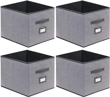 homyfort Caja de Almacenaje Set de 4 Cajas de Juguetes, Caja de Tela para Almacenaje con Cuero maneja y Etiqueta, 33 x 38 x 33 cm, Gris Lino, XDBXL04PLP: Amazon.es: Hogar