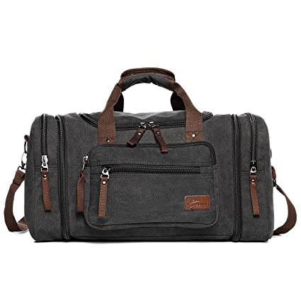 Canvas Duffle Bags, Fresion New Two Side Pockets for Extensions for Unisex  Weekend Daypack Large Holdall Travel Bag (Black)  Amazon.co.uk  Luggage f34896e419