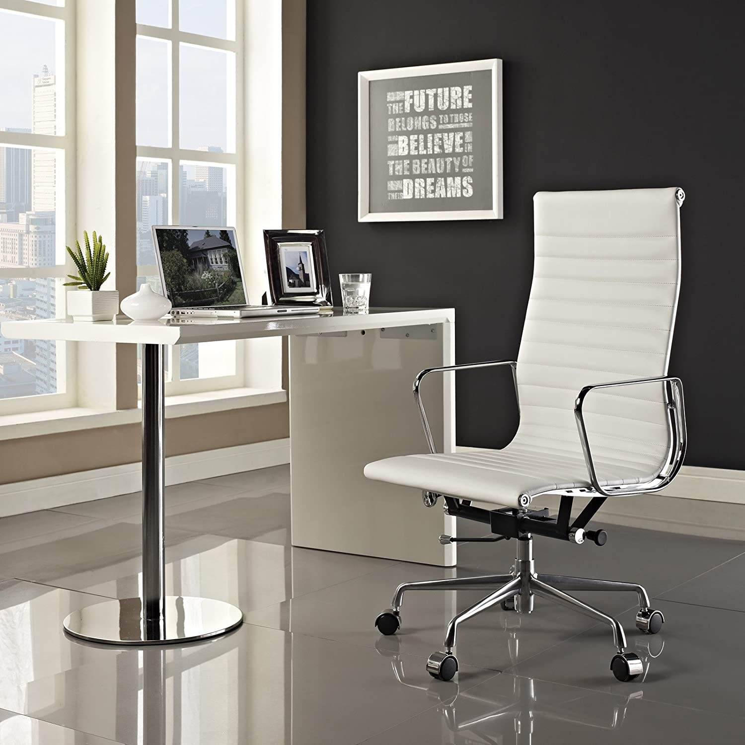 amazoncom modway ribbed high back office chair in white genuine leather kitchen u0026 dining - Leather Office Chairs