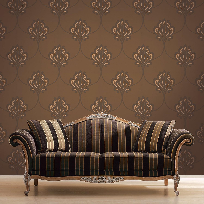 Decorline DL30643 Orfeo Brown Nouveau Damask Wallpaper