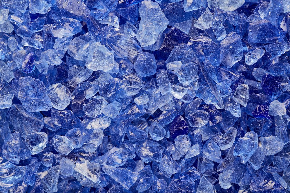 OCEAN BLUE Multi-Purpose Premium Decor & Fire Glass Rock 2-pound 1/4-1/2 inch - For Use In Fire Features, Aquariums, Apothecary, Jars, Vase, Potted Plants, Fire Bowls, Etc. One Stop Outdoor