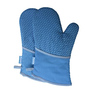 Kitchen Oven Mitts With Non-Slip Silicone Printed - 1 Pair of Heat Resistant Oven Gloves for Cooking,Baking,Grilling,Barbecue Potholders,Blue,Honla