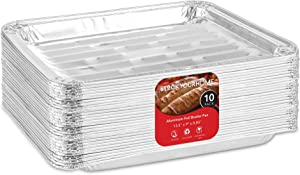 Stock Your Home Disposable Aluminum Foil Broiler Pans (10 Pack) - Broiler Drip Pans for Oven - Durable Broiling Pans with Ribbed Bottom Surface for BBQ Grill Like Texture - 13x9 Inch Broiler Pan