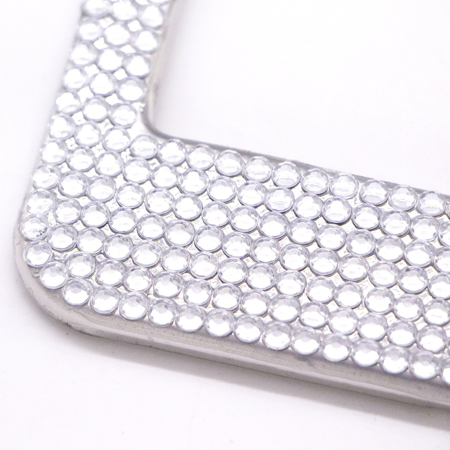 2PCS Bling Rhinestone Car License Plate Frames Holders with 7 Shiny Sparkling Crystal Rows Metal Chrome Auto License Plate Cover with Mounting Screws,Lips TooCust Diamond License Plate Frame