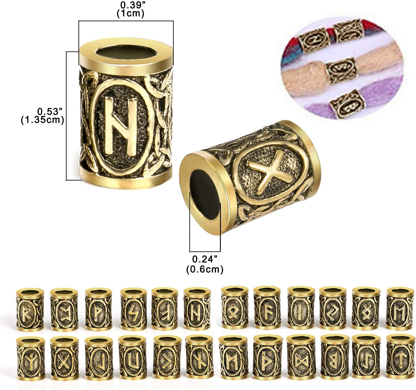 vrac bricolage m/étal viking runes cheveux barbe perles avec clip pour dames femmes fille hommes 24pcs perles de rune viking et bandes de caoutchouc noir ensemble accessoires pour tressage collier