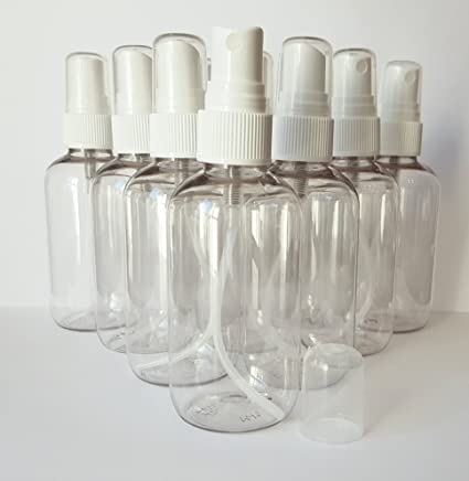 10 x 100 ml transparente plástico PET botellas de cierre de cabeza de atomizador Fine Spray