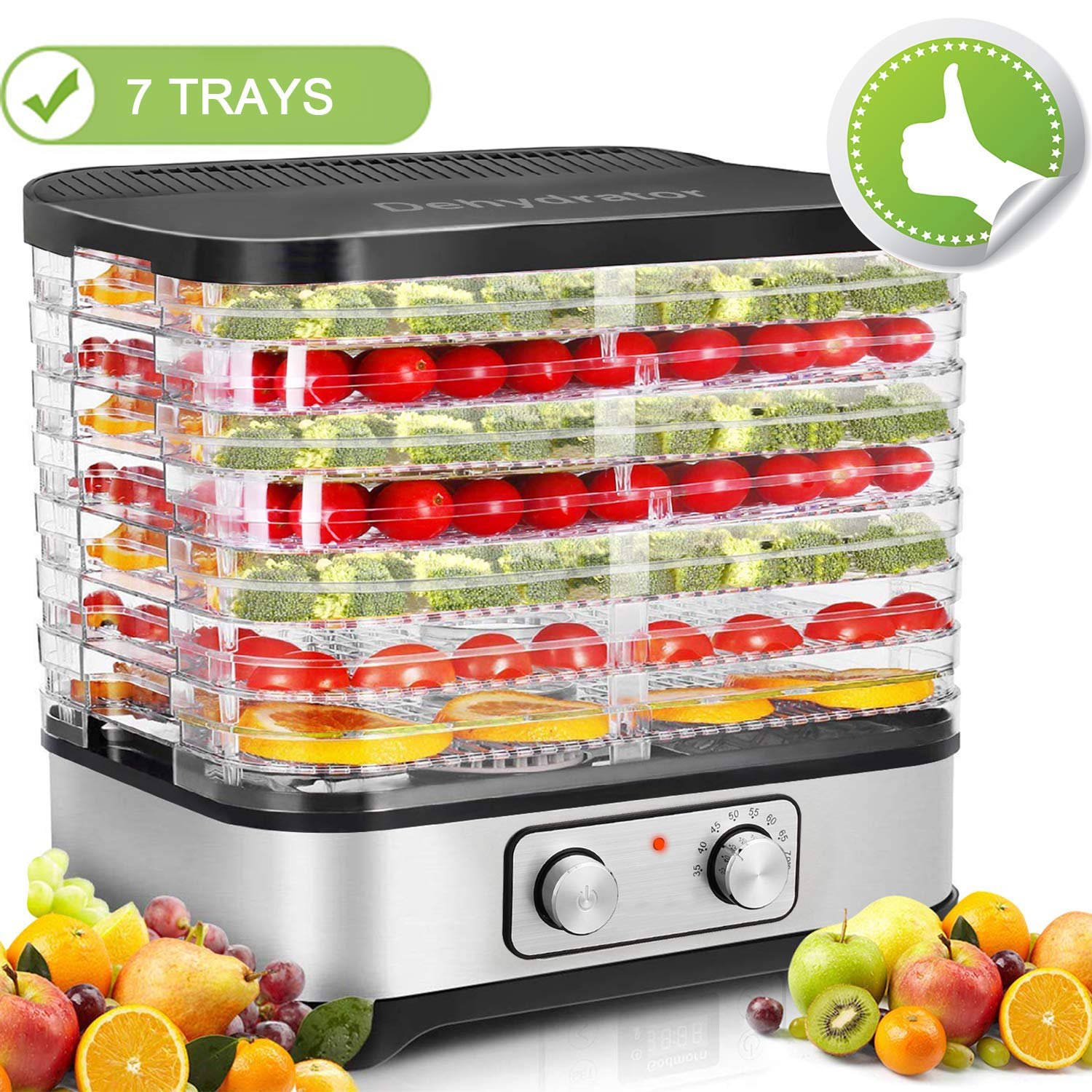 Homdox Food Dehydrator Machine, Food Dryer for Jerky/Meat/Beef/Fruit/Vegetable, Temperature Control, 5 Trays (7 trays) by Homdox