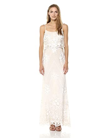 1cd7c141 Adrianna Papell Women's Spaghetti Strap Sequin Embroidered Popover Dress,  Pearl, ...