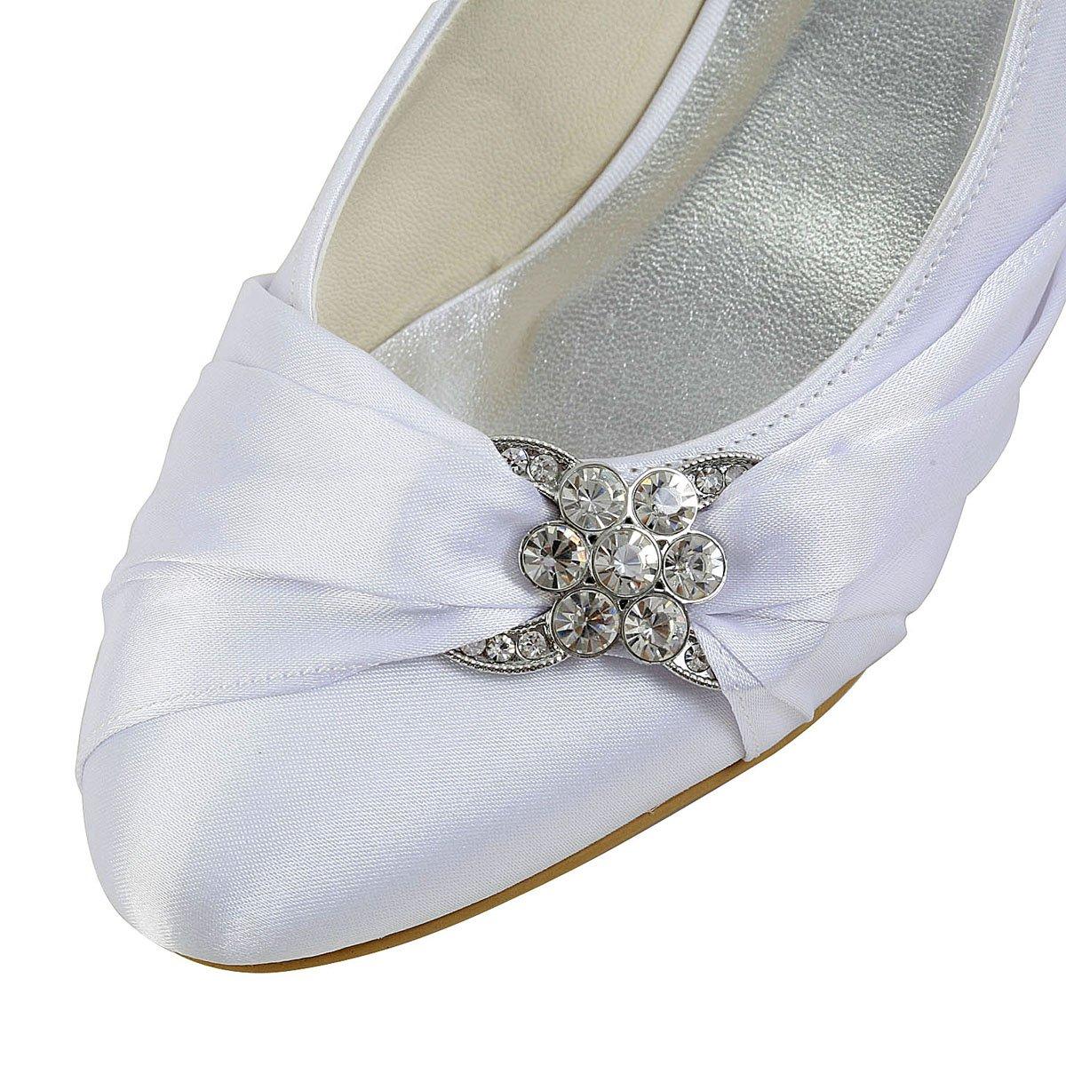ElegantPark EP2006L chiuse Scarpe da sposa tacco basse scarpe chiuse EP2006L donna Bianco 5e2d5f