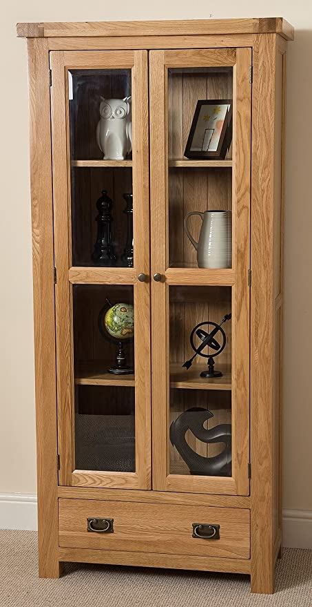 Cottage Solid Oak Glass Front Display Cabinet Unit, 191 X 44 X 87 Cm By