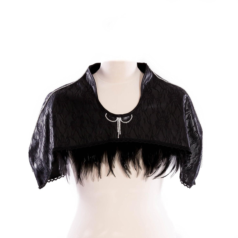 SiaLinda: Cape Victoria, Bolero, schwarz, Kunstleder mit Spitze, Federn und Kristall