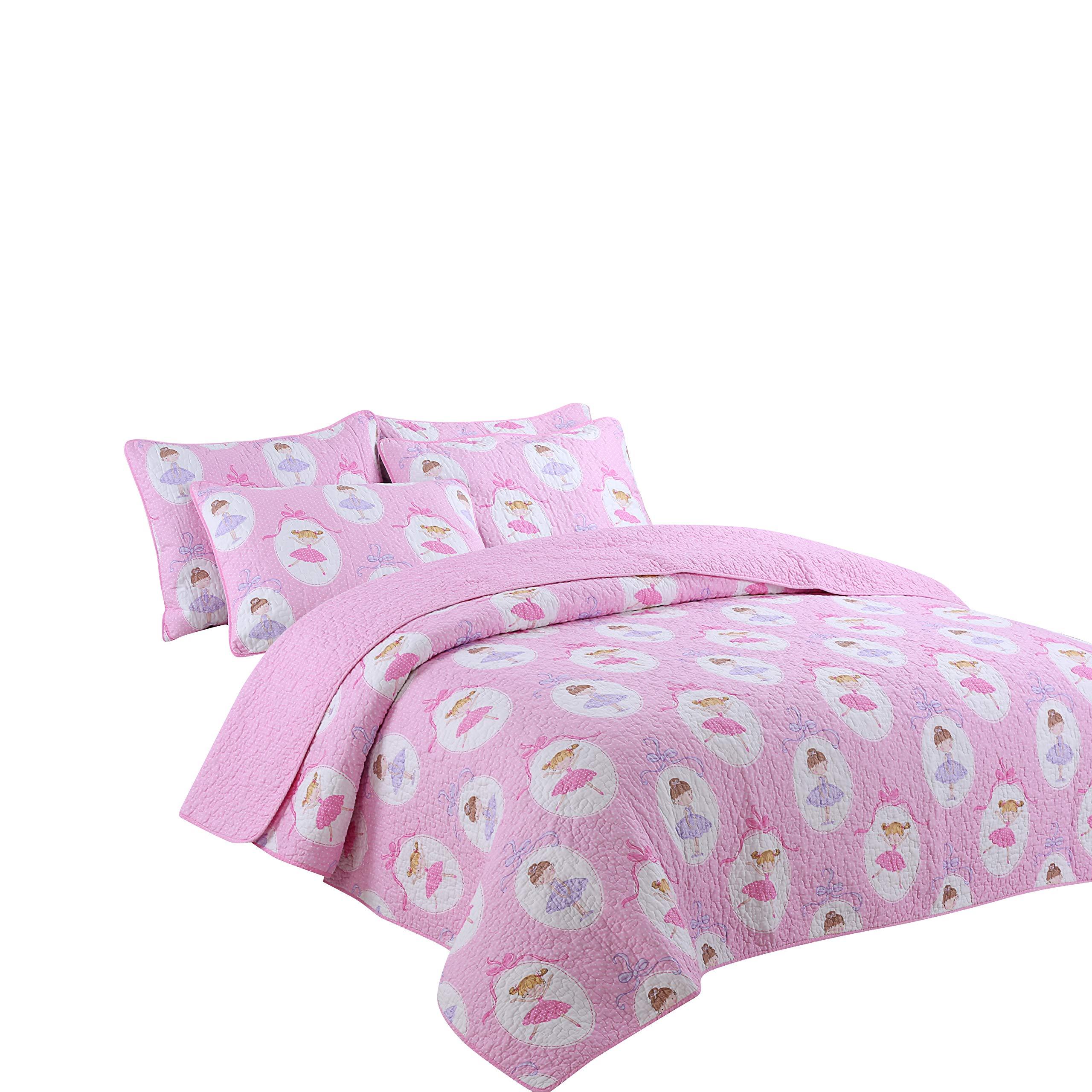 Lotus Karen Pink Dancing Girls Quilt Set - 100% Cotton Quilted Bedspread for Little Girls - 2PC Kids Quilt Bedding Set - Reversible Pink Polka Dot Coverlet Set Twin Size