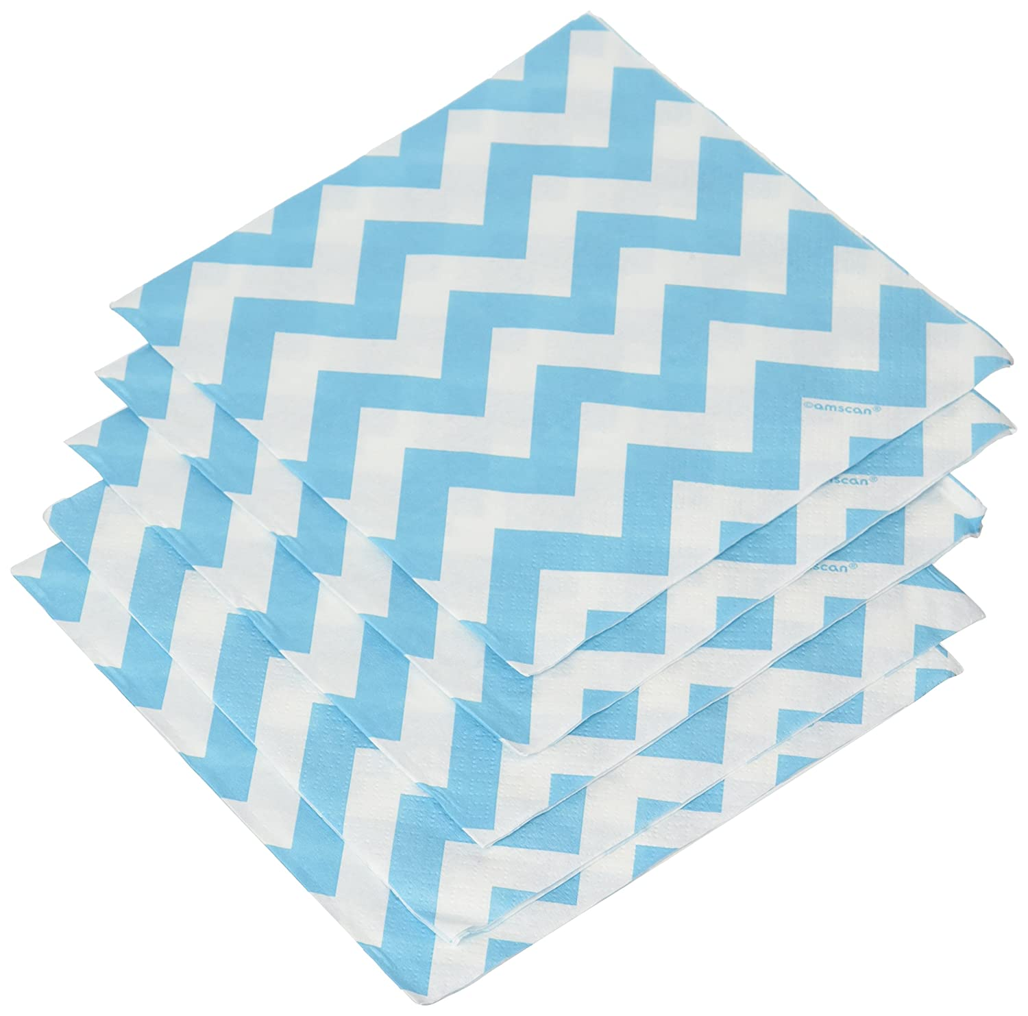 33 cm Amscan International Ltd Serviettes en Papier Motif Chevrons Bleu Turquoise