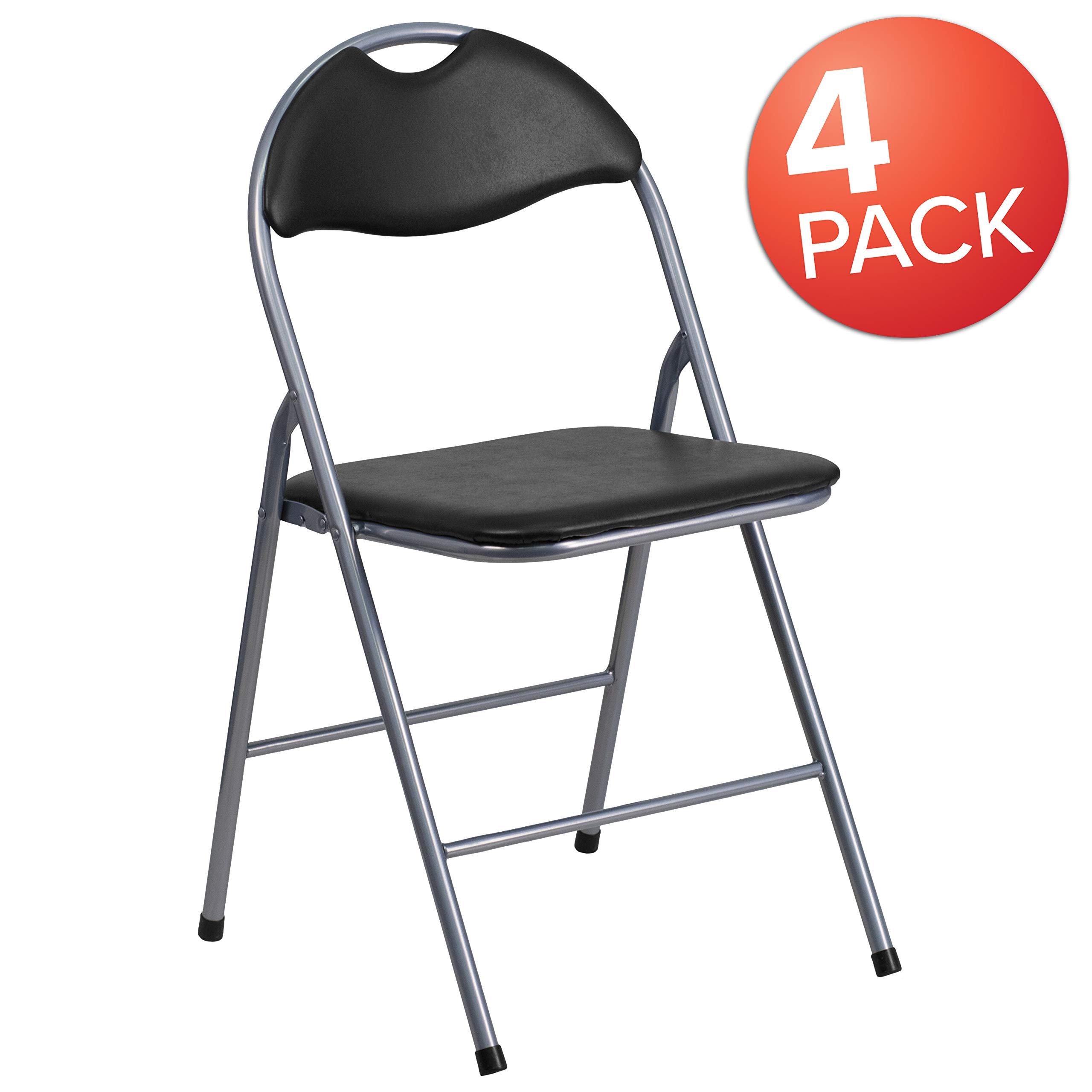 Flash Furniture 4 Pk. HERCULES Series Black Vinyl Metal Folding Chair with Carrying Handle by Flash Furniture