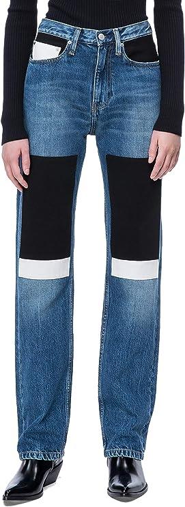 Calvin Klein Women's High Rise Straight Fit Jeans Patchwork Straight Leg Denim Jeans