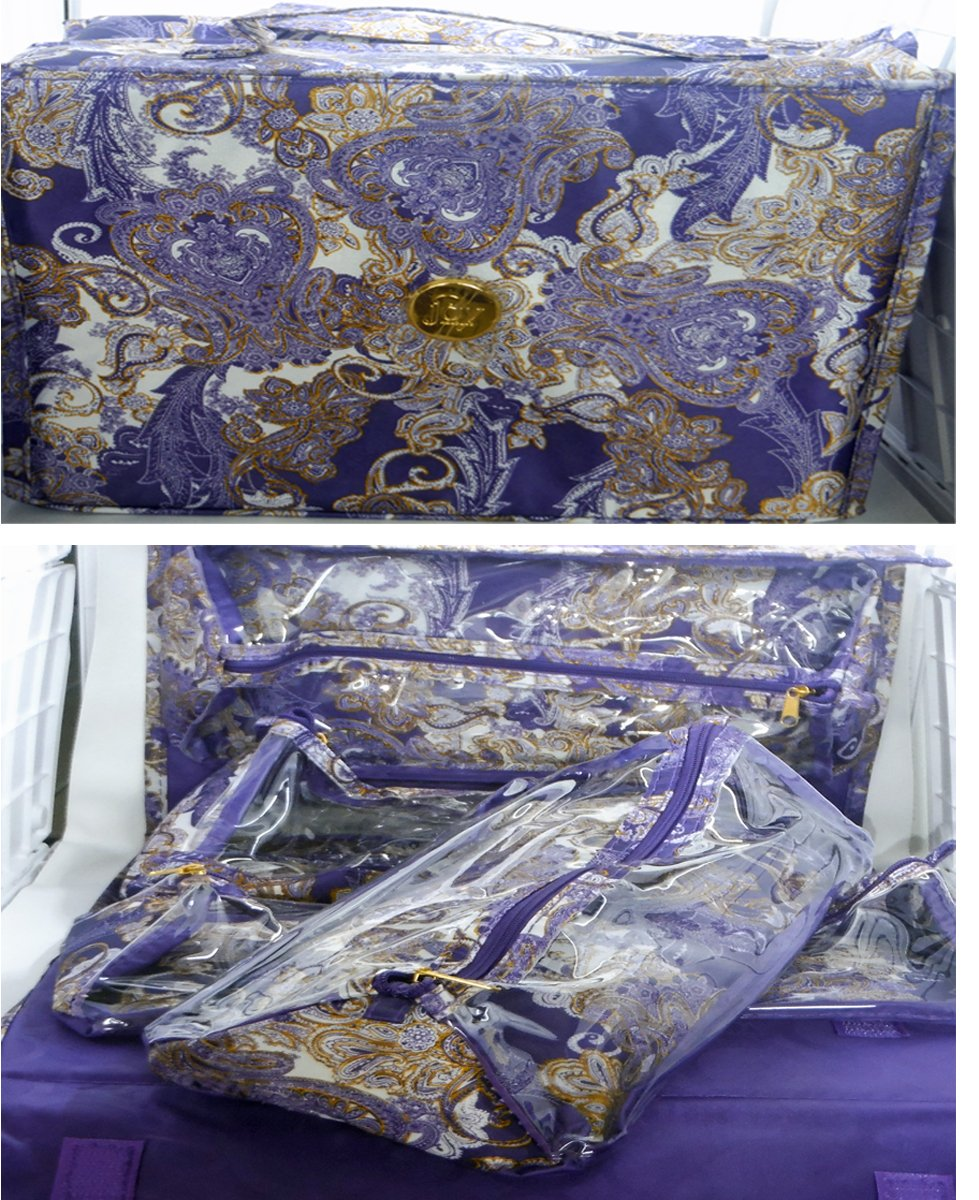 Joy Mangano Deluxe XL Better Beauty Case ~ Purple Paisley