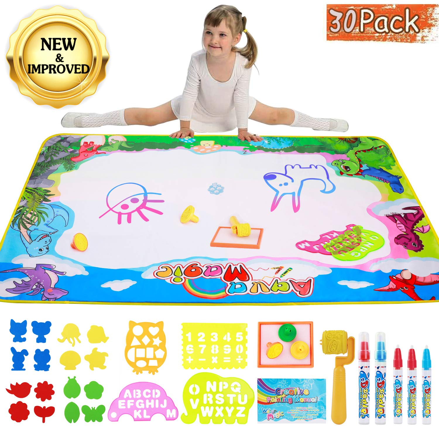 Aywewii Magic Water Drawing Mat, Aqua Magic Doodle Mat Large Educational Water Drawing Mat for Kids ... (Extra Large) by Aywewii