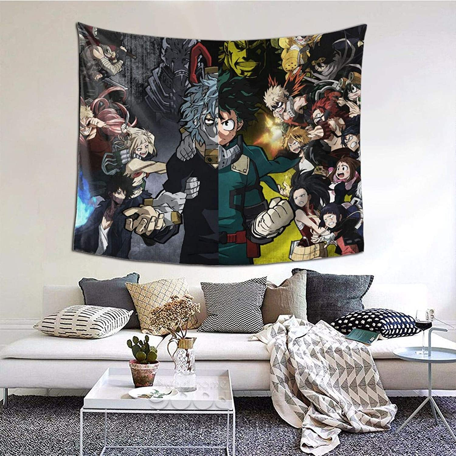 My H-ero A-cademia Tapestry - Wall Hanging Anime Tapestry Decoration for Party Bedroom Living Room 60 x 51 Inch