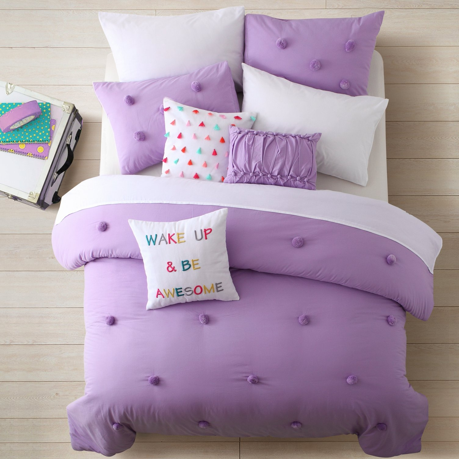 Cassicel Home Anna 3pcs Pompoms Comforter Set Soft and Cozy Bedding for Kids Teen Girls College Students Gifts Twin XL Size Bed Set, Purple
