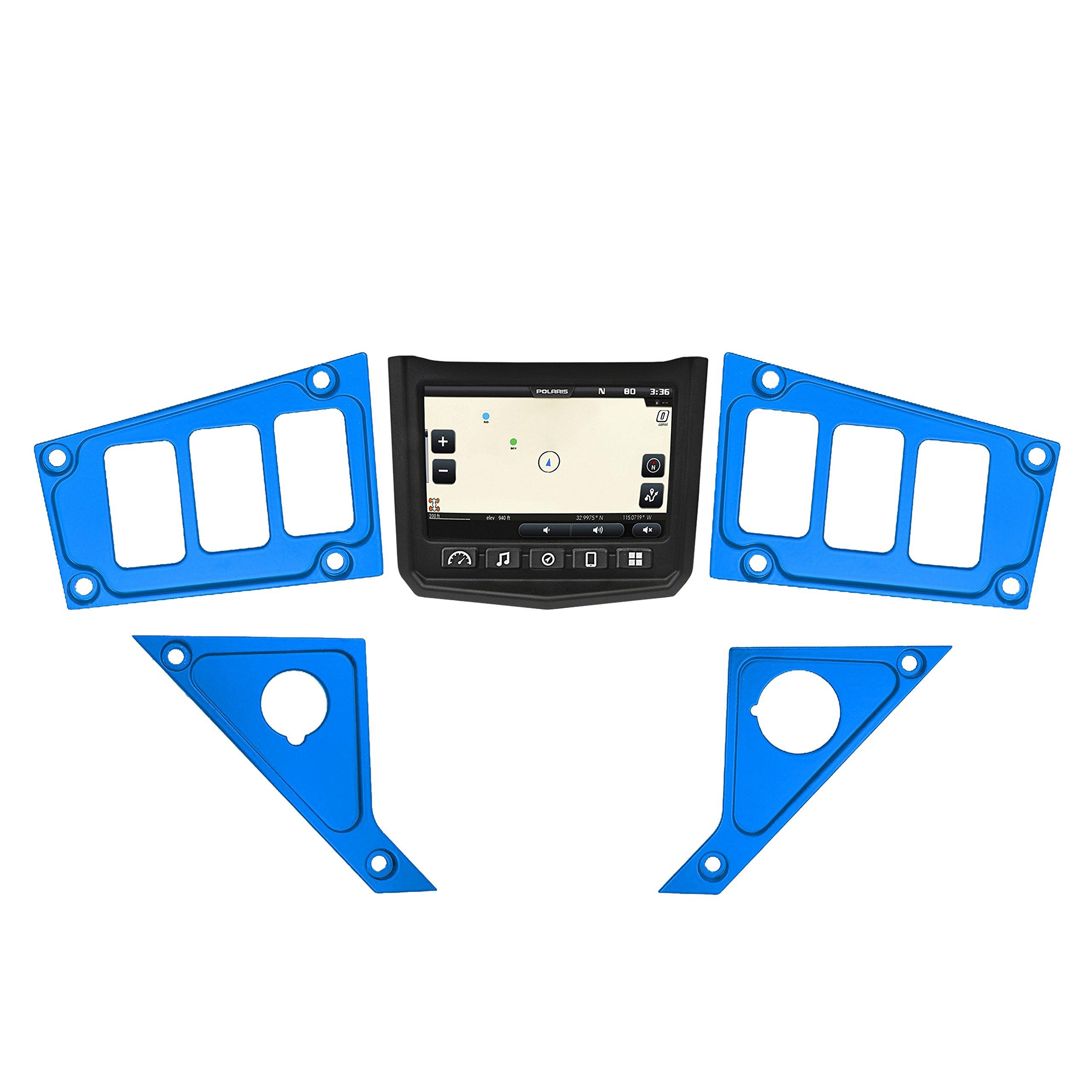 STV Motorsports 2017-2018 Polaris RZR XP 1000 RIDE COMMAND Custom Switch Dash Panel Plates - 100% MADE in USA (short kit, blue)