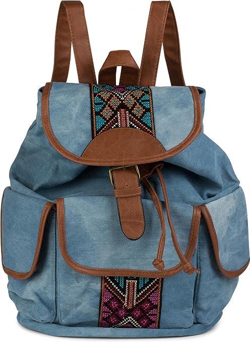 d42a5c925 styleBREAKER mochila/bolso de mano vaquero con modernos bordados étnicos,  estilo boho, bolso
