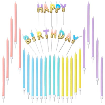 Blue Panda Happy Birthday Glitter Dipped Candles (Assorted Sizes, 5 Colors, 37 Pack): Home & Kitchen