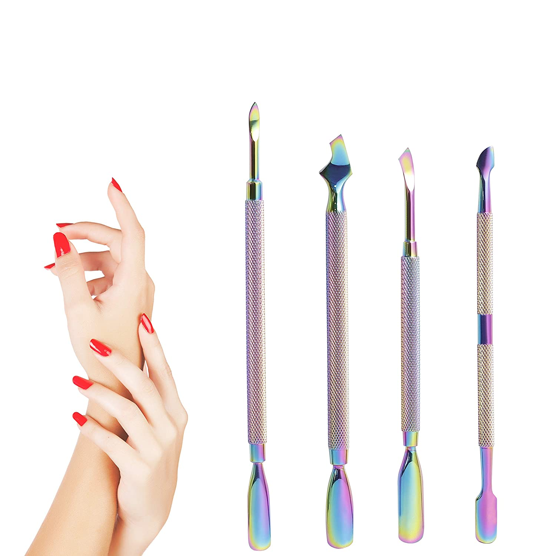 BEZOX spingi cuticole Remover kit - Rainbow color doppio in acciaio INOX cuticola utensili/set per manicure, 4 pezzi, in scatola di latta B&C