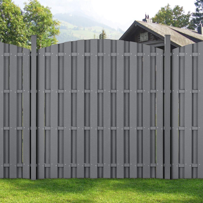 Neu Holz 2x Wpc Gartenzaun Mit Rundbogen Und Pfosten 185x747cm