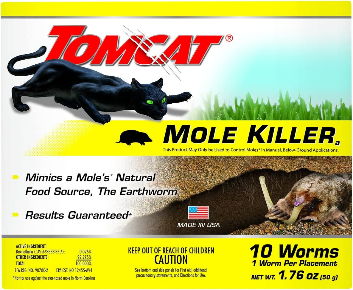 Tomcat 0372310 Bait-Includes 10 Worms per Box-Mimics Natural Food Source-Ready-to-Use Killer-Effective Against Most Common Mole Species, 10 Pack