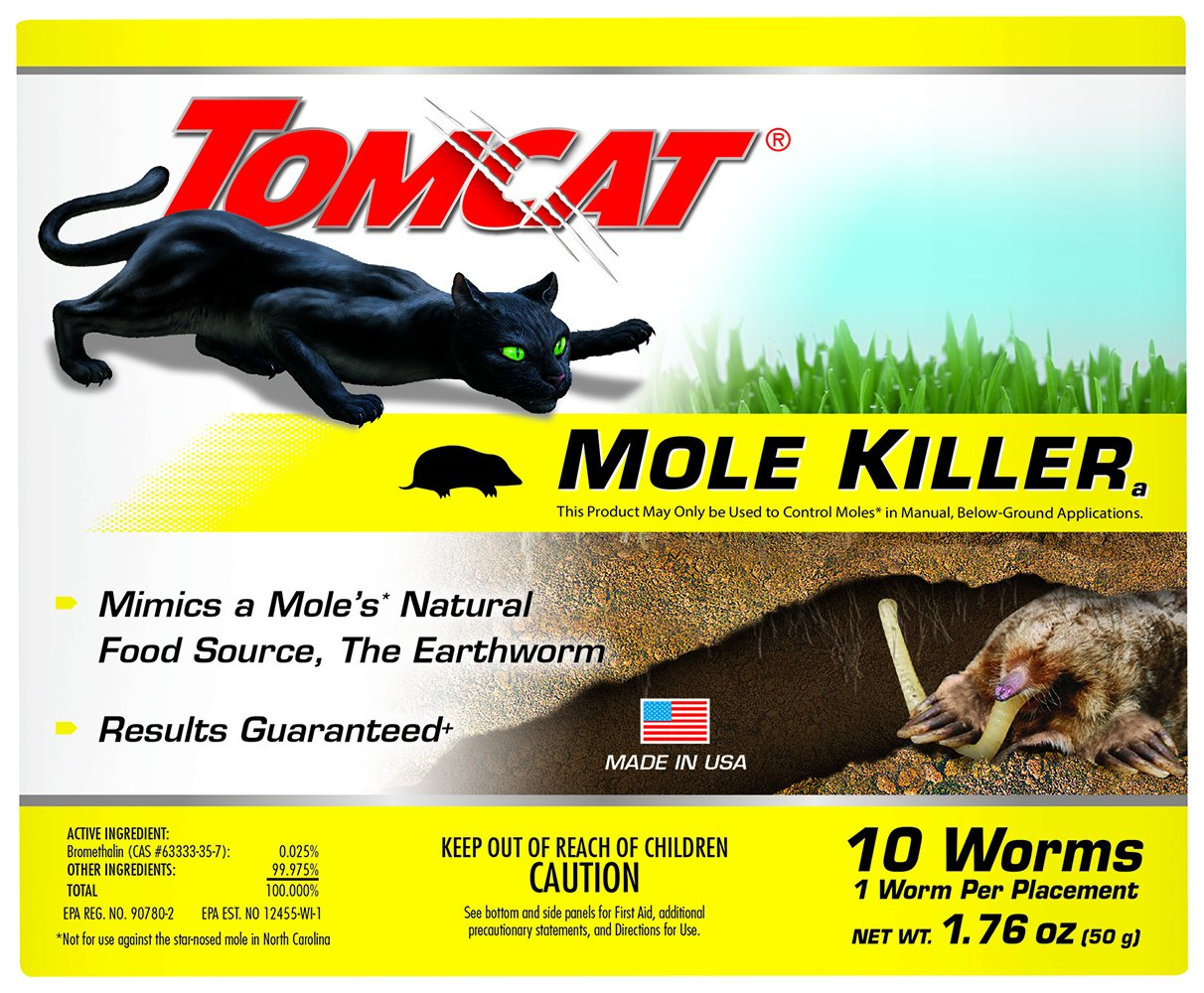 Tomcat 0372310 Mimics Natural Food Source Bait-Includes 10 Worms per Box Ready-to-Use Killer-Effective Against Most Common Mole Species, 10 Pack by Tomcat