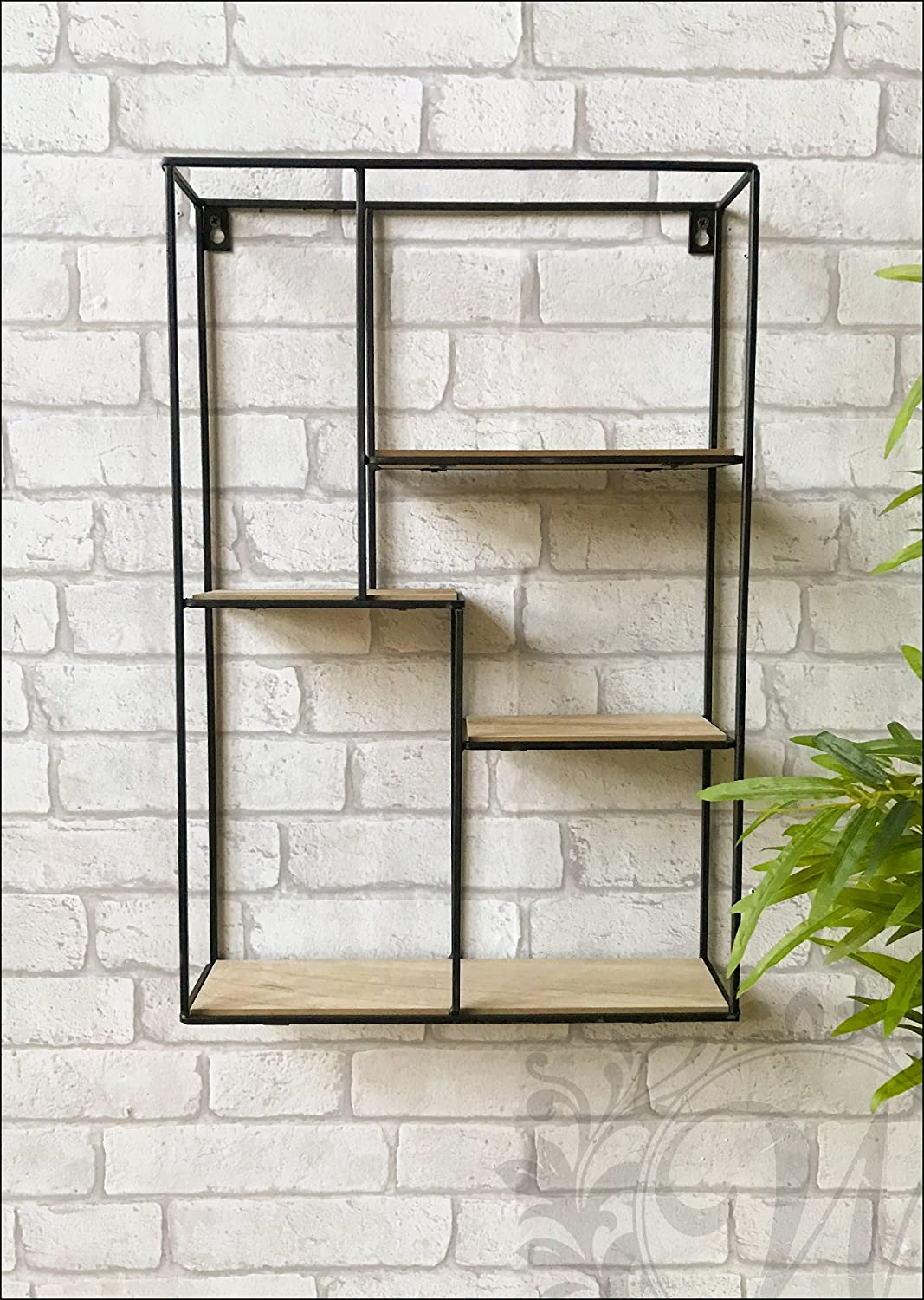 Small Square Metal Wall Storage Unit Vintage Industrial Style Shelf