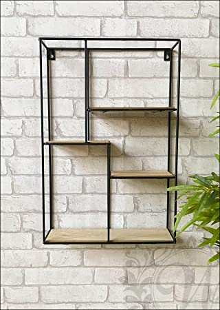 Black Metal And Wood Rectangular Wall Unit With Shelves