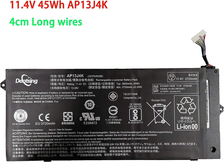 "Dentsing AP13J4K 11.4V 45Wh/3920mAh Laptop Battery Compatible with Acer Chromebook 11.6"" 11 C740 C720 C720P Series Notebook AP13J3K KT.00304.001 (Long Cord)"