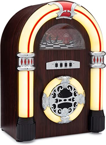 ClearClick Jukebox Bluetooth Speaker with Lights and Aux-in – Retro Style with Handmade Wooden Exterior