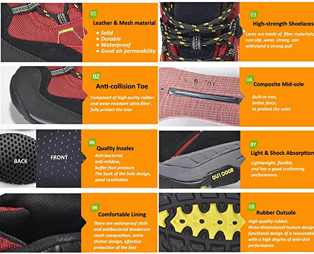 4532937500a8df GOMNEAR Waterproof Men Hiking Shoes Trekking Ankle Boots Non-Slip Women  Mountain Outdoor Sneaker  Amazon.ca  Shoes   Handbags