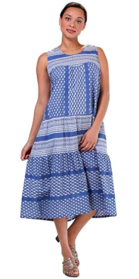 La Cera Plus Dresses Cotton Sleeveless Muumuu in Bandana Blue at ...
