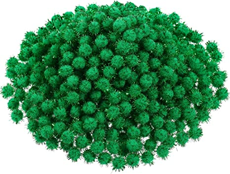 White 600 Pieces Christmas Pom Poms Glitter Pom Poms Arts and Crafts Making Balls for Christmas Craft Making Party Supplies