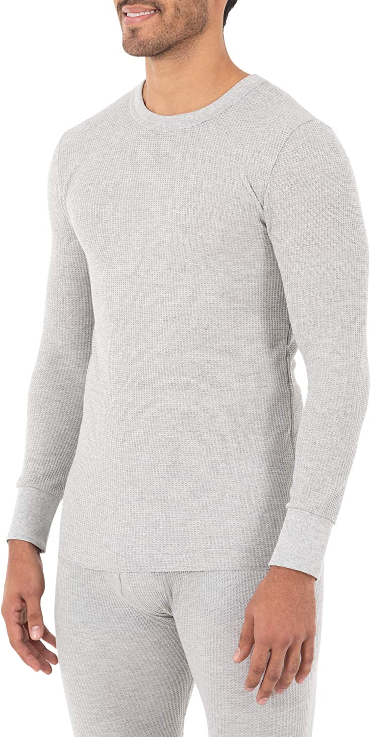 Fruit of the Loom Mens Classic Midweight Waffle Thermal Underwear Crew Top 1 /& 2 Packs