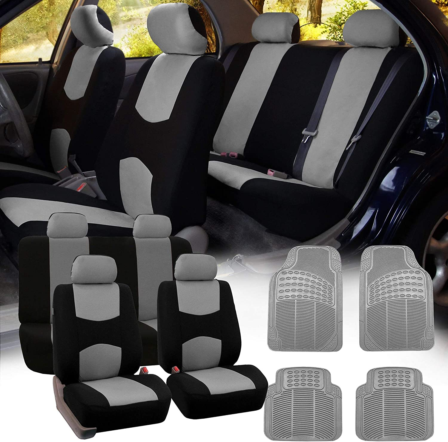 FH Group FB051115 + R11305 Combo Set: Multi-Functional Flat Cloth Seat Covers – Full Set