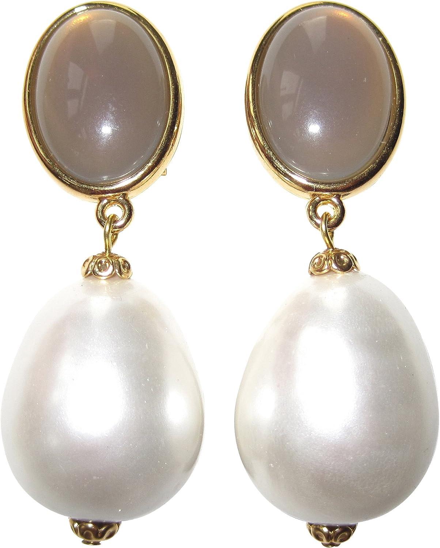 Muy Grandes, pero federleichte dorados pendientes Clip con un gris piedra y una perla blanca