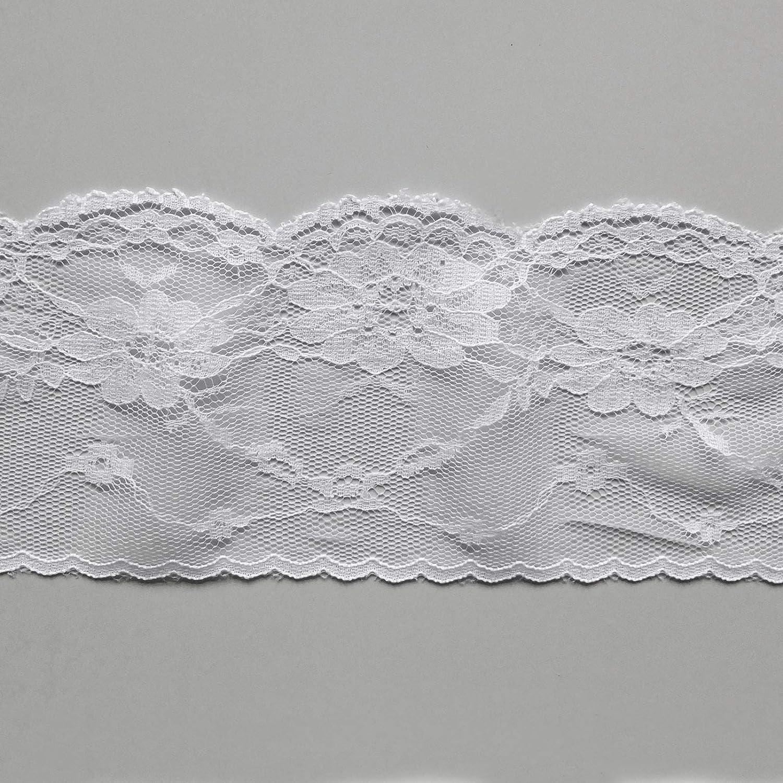 80mm wide soft delicate fine pretty lace edge trim in Black or White Black sold by the metre