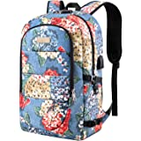 Business Laptop Backpack, 17.3 Inch Stylish Computer Backpack for Women Girls with USB Port and Lock, Water Resistant College School Backpack Student Daypack Backpack for Hiking/Travel/Work-Flower1