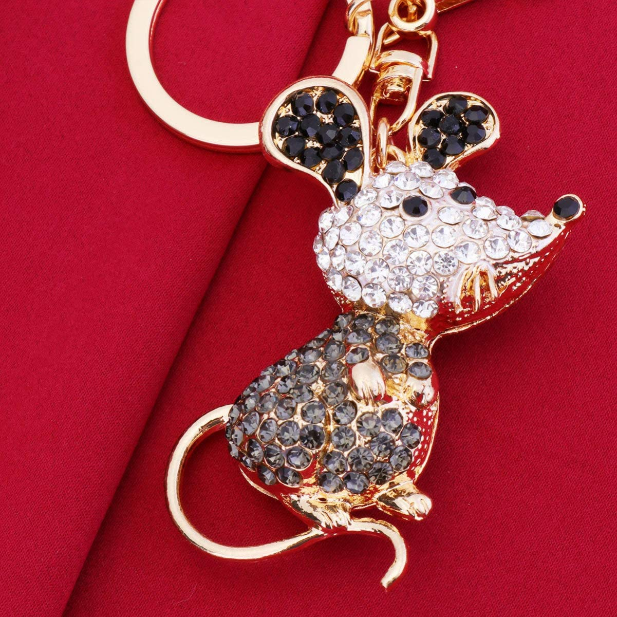 Black 1 Amosfun Mouse Rat Keychain Keyring Crystal Rhinestone Keyring Alloy Chinese Zodiac Charms Keychain Happy Lunar New Year Party Gifts for Kids Woman