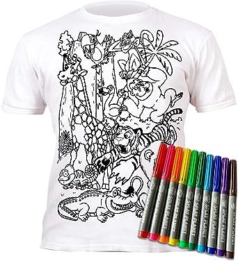 Camiseta Zoo y Animales del Zoo para niños y niñas. con impresión para Pintar y Colorear. Incluye 6 Colores mágicos Lavables. Cumpleaños Infantil.