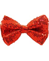 AJ Accessories Men's Sequined Classic Adjustable Pre-Tied Bow Tie (Red)
