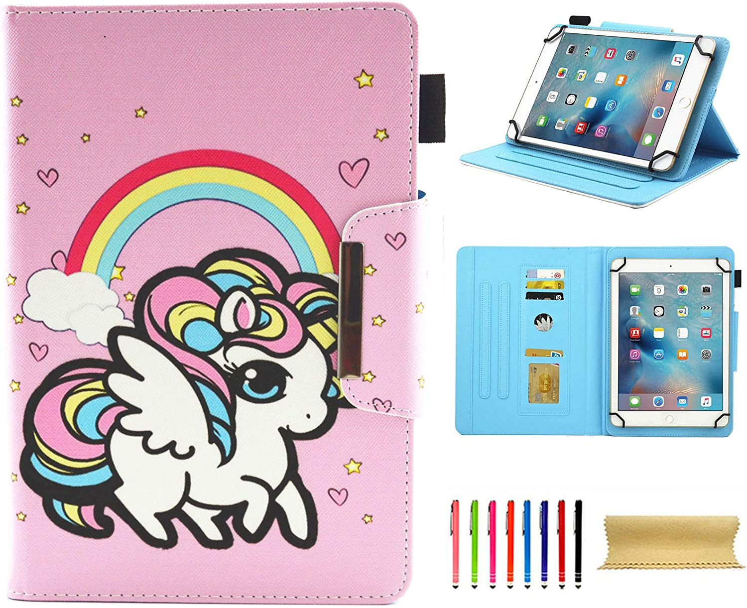 Universal Case for 7.0 Inch Tablet, Techcircle Slim PU Leather Stand Folio Wallet Case for Samsung Galaxy Tab E Lite, Acer Iconia One 7, Google/RCA and More 7-inch Android Tablet, Rainbow Unicorn