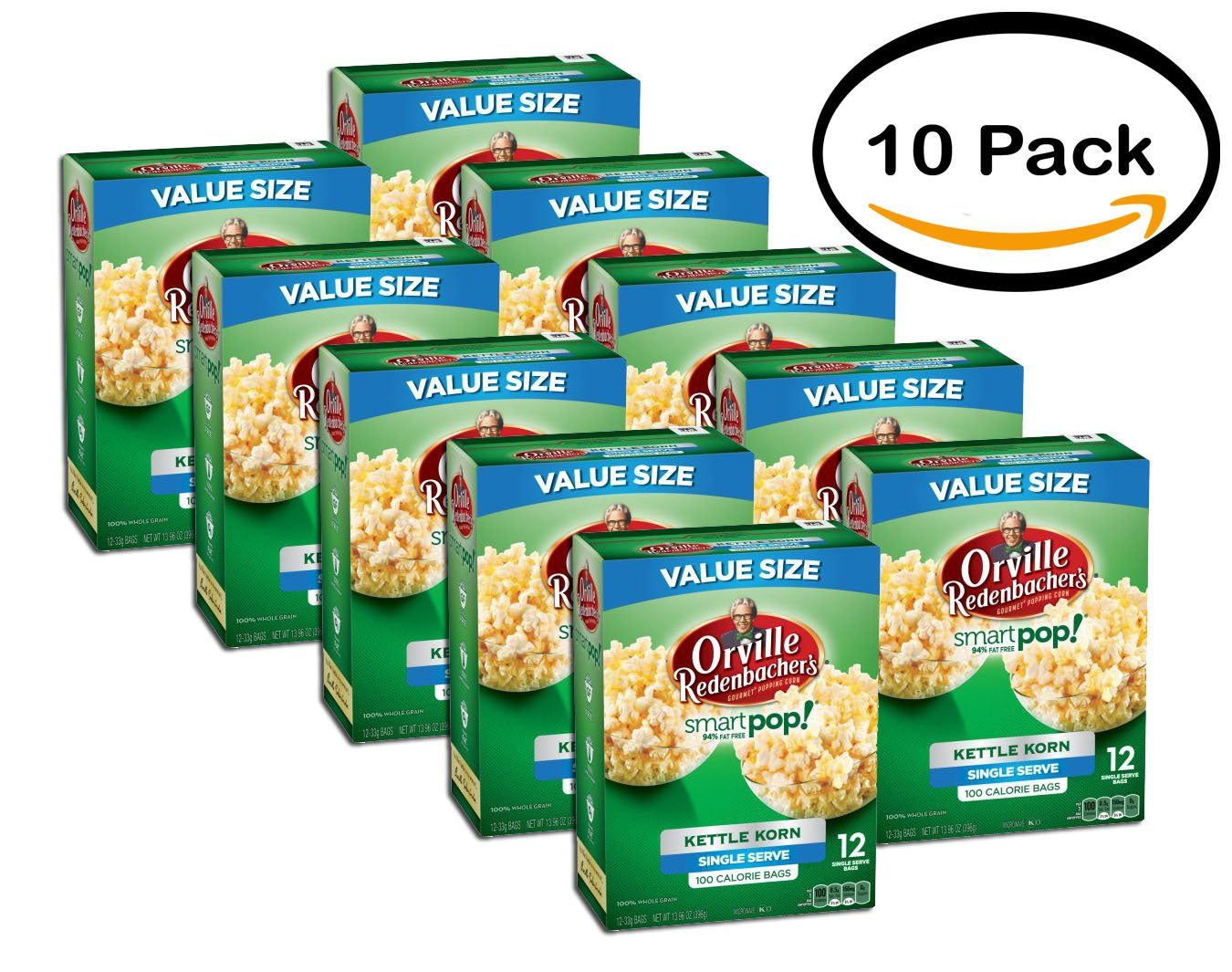 PACK OF 10 - Orville Redenbacher's SmartPop! Kettle Korn Popcorn, Single Serve Bag, 12-Count by Orville Redenbacher's