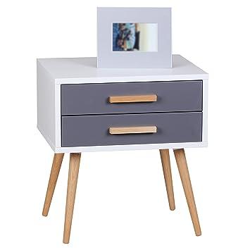 Wohnling Retro Nachttisch Weiß Grau SCANIO Mit 2 Schubladen   Füße Eiche